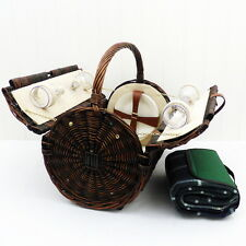 Picnic Basket - Wicker Hamper (4 Person Stamford) with Green Tartan Blanket