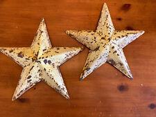 "12.5"" Rustic Metal Star Cream W/ Rusty Patina -  Set Of 2 Farmhouse Primitive"