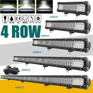 "QUAD Row 12"" 15"" 20"" 29"" 44"" LED Light Bar SPOT FLOOD Offroad DRIVING 4X4WD SUV"