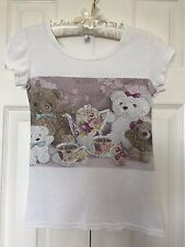 BLING Korean Fashion Teddy BEAR FAMILY Care Tea Time RHINESTONE TEE T-SHIRT Top