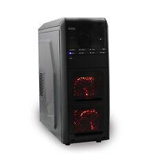 Hochleistungs Gaming 2x rote LED PC ATX Case Schraubenlose Front USB 3.0 & Sound
