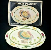 Thanksgiving Weiss Turkey Plater 18 inch Hand Painted Brazil with Original Box