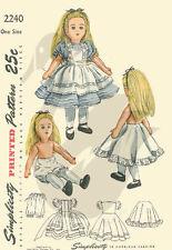 Millésime 1947 Alice au pays des merveilles Doll & vêtements couture motif