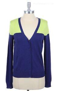 Contrast Color Block Long Sleeve Button Down V Neck Knit Cardigan Cotton S M L