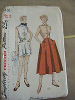 Vintage 1950's Simplicity 3160 Blouse, Skirt & Shorts Pattern - Size 14 Bust 32