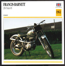1962 Francis-Barnett 250cc Trials 85 AMC Motorcycle Photo Spec Sheet Info Card
