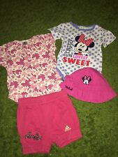 Girls Adidas & Disney Minnie Mouse Bundle Hat Body Up 12 Months Great Condition