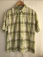 Mens green short sleeved cotton shirt size L Large 🌿