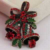 Christmas Suit Brooch Pin Corsage Crystal Rhinestone Xmas Bow Bells Brooch Pin