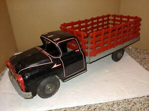 """Vintage 50's Marx Lumar Pressed Steel Lithographed Tin Stake Body Truck,19 1/2"""""""