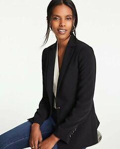 ANN TAYLOR Black One Button Front Woven Blazer Size 6
