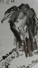 "VINTAGE CHINESE AFTER QI BAISHI INK& WATERCOLOR  PAINTING""EAGLE ON TREE"",SIGNED"