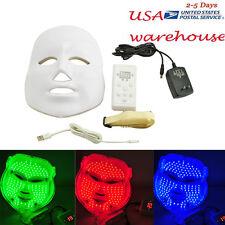 LED 3 Color Light Facial Mask Skin Rejuvenation Therapy Facial Skin Salon USPS