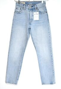 Womens Levis 501 High Rise Straight Cropped Light Blue PREMIUM Jeans 2 4 W23 L26