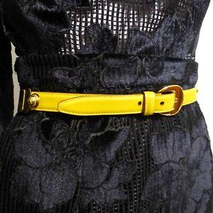 SALVATORE FERRAGAMO Women's Belt  Yellow Leather Gold Hinged  78 cm 38 Inches