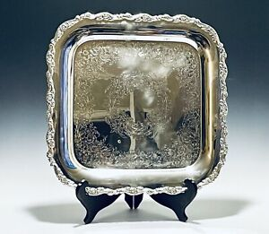 Stunning Vintage Victorian Style Square Silver Plate Tray By Oneida