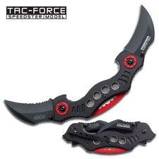 SPRING-ASSIST FOLDING POCKET KNIFE Tac-Force Dual Black Hawkbill Blade Claw