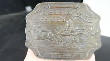 Brass American Heroes Fire Department New York Belt Buckle Horse Drawn Engine