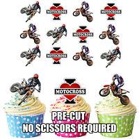 PRECUT I Love Motocross 12 Edible Cupcake Toppers Cake Decorations Birthday