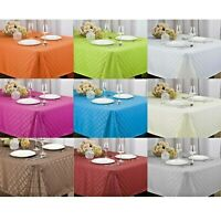 HARRIET FABRIC JACQUARD TABLECLOTH , 4 SIZES, WHITE, ORANGE, LIME, BEIGE, TURQ