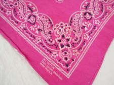 VTG Antique PINK FAST COLOR MADE IN USA Cotton Biker BANDANA Handkerchief 20x21