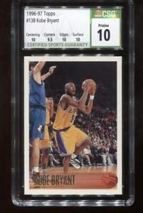 Kobe Bryant RC 1996-97 Topps #138 Lakers Rookie bgs CSG 10 Pristine!