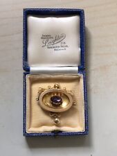 Victorian 15ct Etruscan Style Amethyst Brooch.