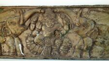 Antique Old Rare Hand Carved Hindu Money Goddess Laxmi Engraved Wood Wall Plaque