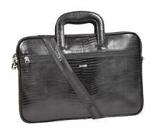 Real Leather File Document Business Briefcase Portfolio Snake Print Black Bag