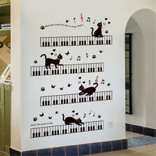 Piano Keys Black Cat Room Home Decor Removable Wall Stickers Decals Decoration