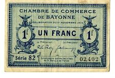 Billete Chambre de Commerce de Bayonne 1919 1 franc Billet France