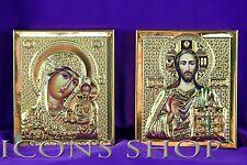 Holly Mary Jesus Christ The Saviour Framed Metal Icon 5X7Cm Оклад Пара Казанская