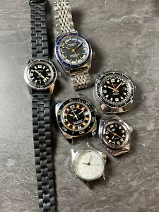 Lot 6 Montre Ancienne Plongée Vintage Diver Watch Yema Type Seawatch
