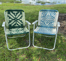 Vintage Mid Century Aluminum Macrame Woven Weave Folding Lawn Patio Chairs BOHO