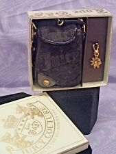 NWT Juicy Couture Cell phone case black velour and gold charm with box
