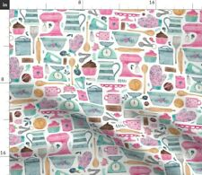 Baking Cake Kitchen Cupcake Cooking Vintage Fabric Printed by Spoonflower BTY