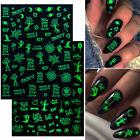 Luminous Halloween 3D Nail Stickers Glow In Dark Design Decals Nail Decoration