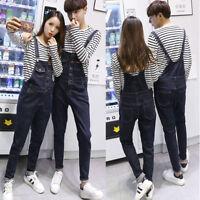 Men Women Bib Denim Jeans Dungarees Overalls Suspenders Jumpsuits Straight Pants
