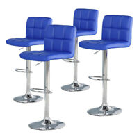 Set of 4 Bar Stools Counter PU Leather Adjustable Height Swivel Pub Chair Dining