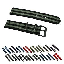 2 Piece Ballistic Nylon RAF PVD Military Solid/Stripe Replacement Watch Strap