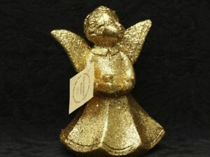 INO SCHALLER BAYERN GOLD GLITTER CAROLER CHOIR ANGEL Paper Mache Tree Ornament