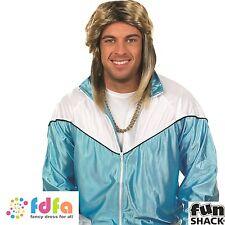 SCOUSE 80S BLONDE POP STAR CELEBRITY MULLET WIG - mens fancy dress costume