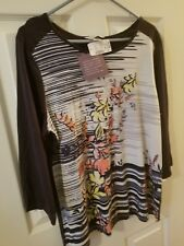 Christopher & Banks X 14 W  Blue Multi Top Long Sleeve NWT