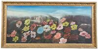 """Antique Victorian Floral Oil Painting on Tin Gold Frame Signed Peonies Roses 44"""""""