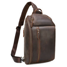 Vintage Men Leather Casual Daypack Chest Pack Crossbody Outdoor Sports Sling Bag