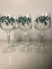 Set Of Six Wine Water Goblets Glasses Hand Painted Floral Design