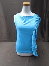 Ralph Lauren Black Label blue side ruffle blue blouse sleeveless womens M Medium