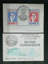 Frankreich 1982 Block Nr. 6 mit Philex France Sonderstempel + Eintrittskarte