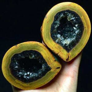 500g Very Nice Color Pair Smooth Yellow/Red Agate Smoke Quartz Geode Polished