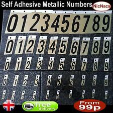 Stick on Self Adhesive Metal Numbers House Door Sign Dustbin Home Gates Work UK